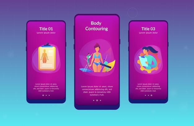 Modello di interfaccia app di body contouring.