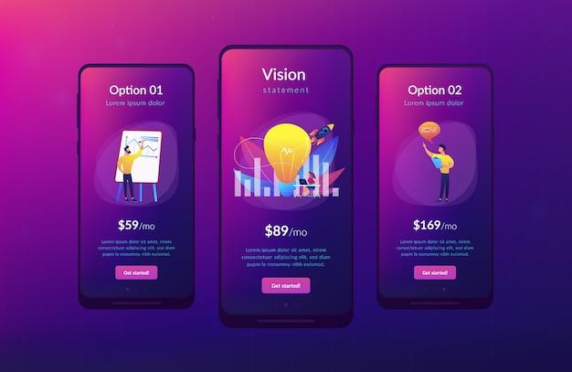 Modello di interfaccia app di dichiarazione di visione