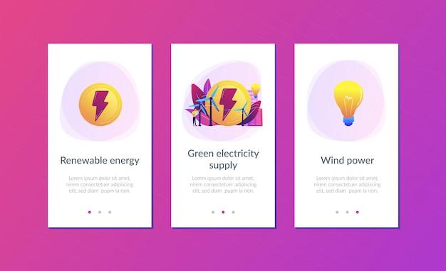 Modello di interfaccia app di energia eolica.