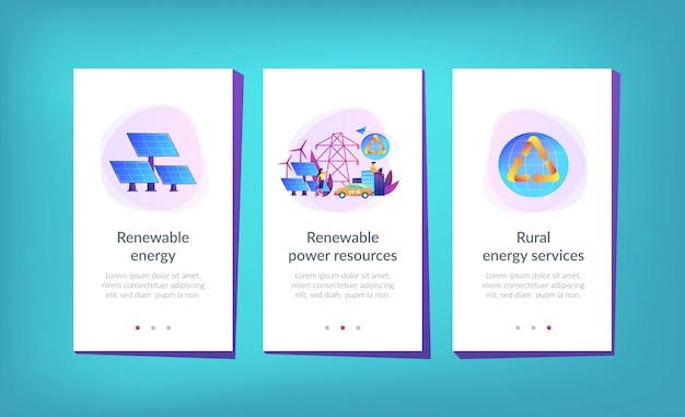 Modello di interfaccia app di energia rinnovabile.