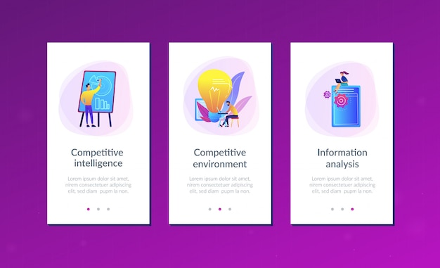 Modello di interfaccia app di intelligenza competitiva