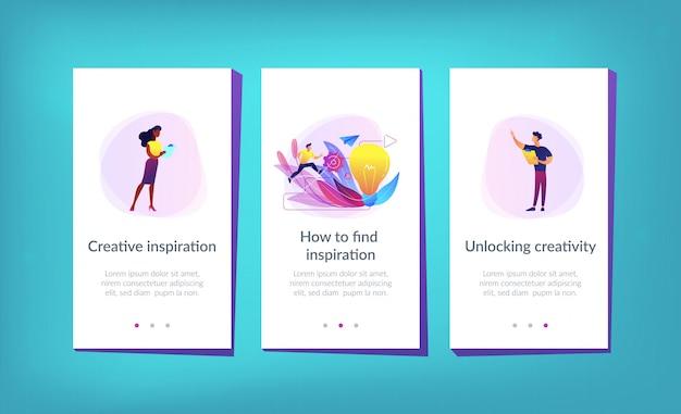 Modello di interfaccia app di ispirazione creativa