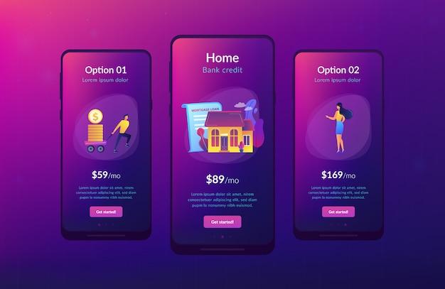 Modello di interfaccia app mutuo ipotecario.