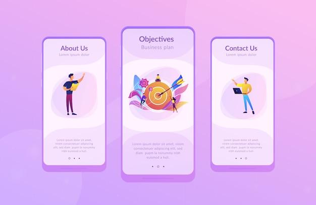 Modello di interfaccia app obiettivi e obiettivi