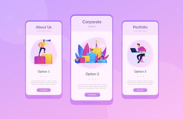 Modello di interfaccia app per la scala aziendale