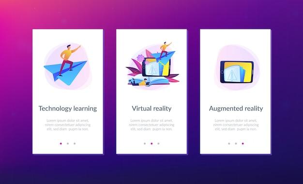 Modello di interfaccia app per libri di realtà aumentata.