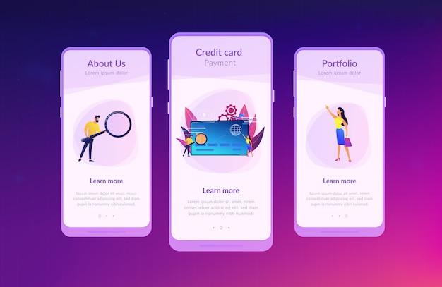 Modello di interfaccia app plastica denaro.