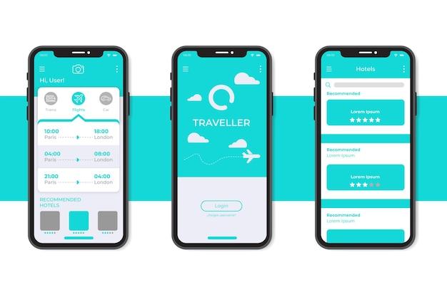 Modello di interfaccia app prenotazione viaggi minimalista