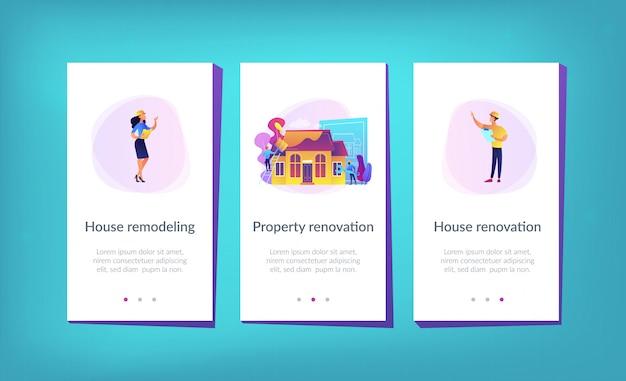 Modello di interfaccia app rinnovamento casa.