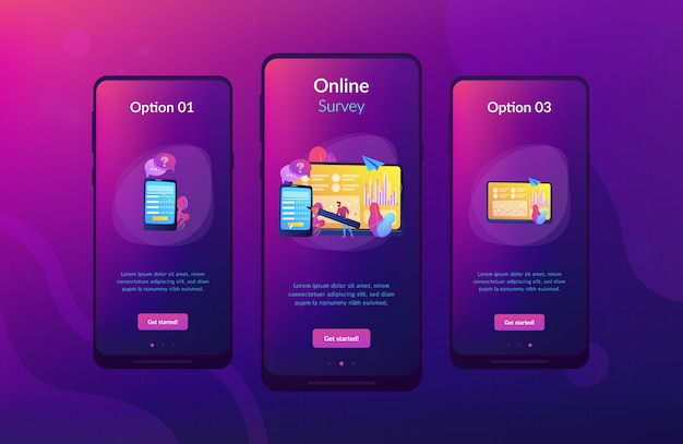 Modello di interfaccia app sondaggio online