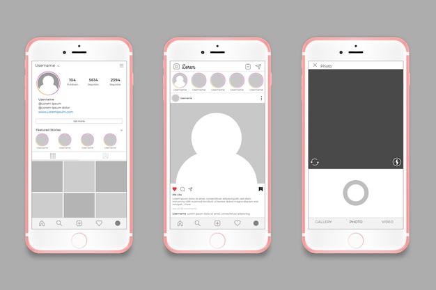 Modello di interfaccia del profilo instagram con il concetto di telefono