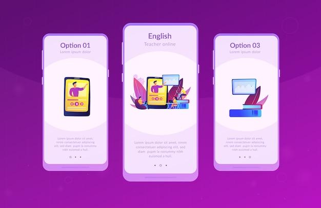 Modello di interfaccia dell'app di insegnamento online.