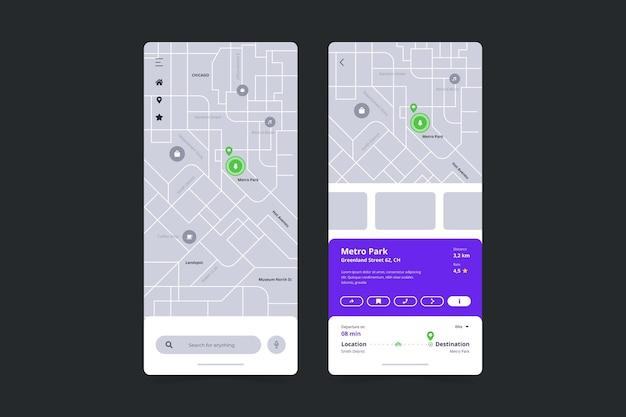 Modello di interfaccia dell'app di localizzazione