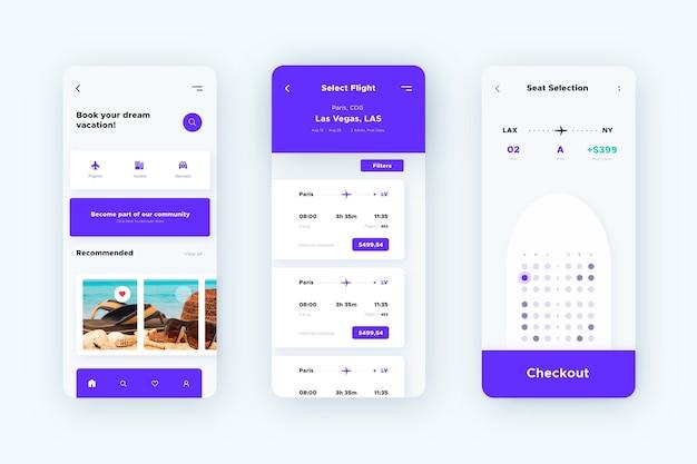 Modello di interfaccia dell'app di prenotazione viaggi