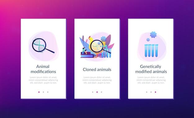 Modello di interfaccia dell'app per animali geneticamente modificato.
