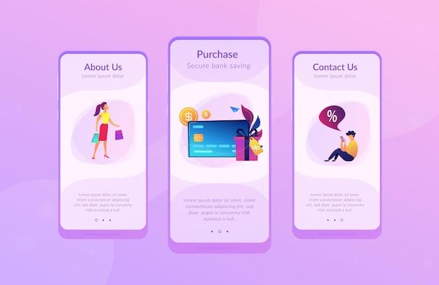 Modello di interfaccia dell'app per carte di debito.