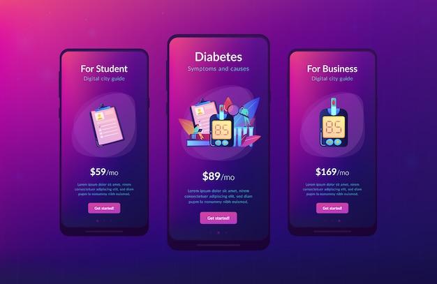 Modello di interfaccia dell'app per il diabete mellito.