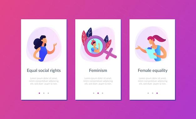 Modello di interfaccia dell'app per il femminismo.