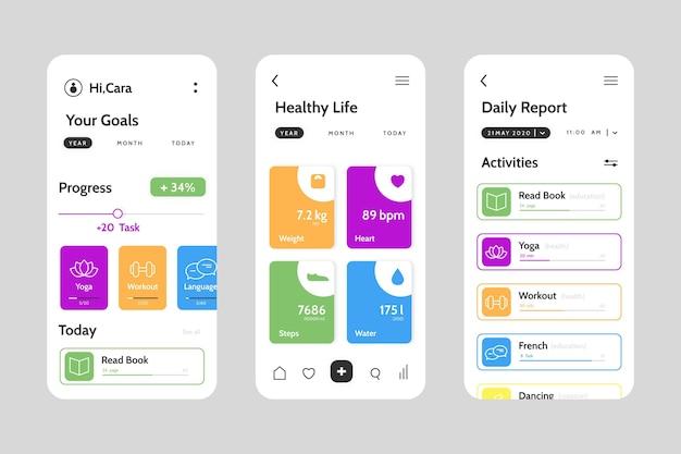 Modello di interfaccia dell'app per il monitoraggio degli obiettivi e delle abitudini