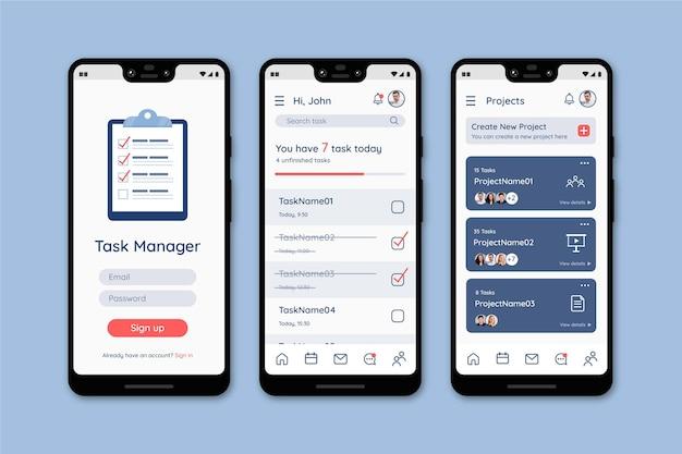 Modello di interfaccia dell'app per la gestione delle attività