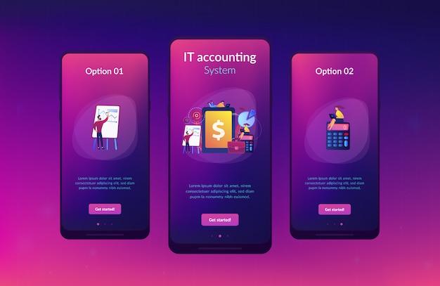 Modello di interfaccia per app di contabilità aziendale