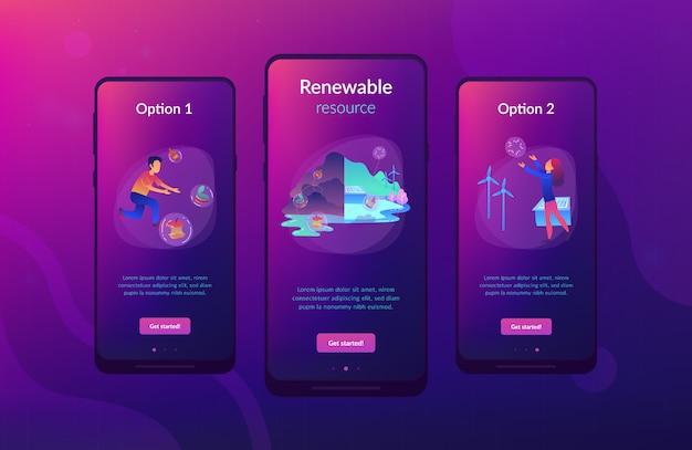 Modello di interfaccia per app ui ux per risorse rinnovabili.