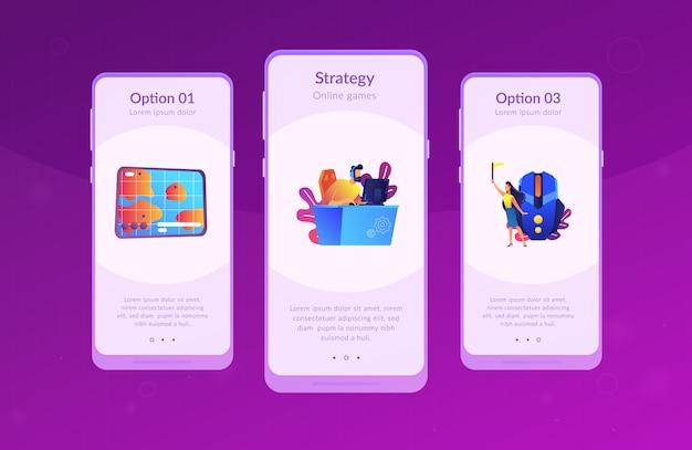 Modello di interfaccia per l'app di giochi online strategici.