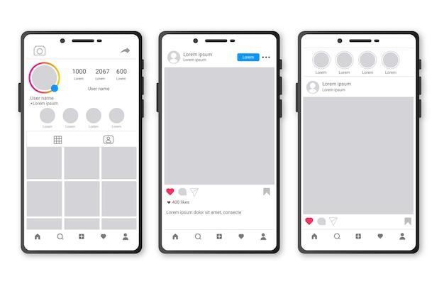 Modello di interfaccia profilo instagram con cellulare