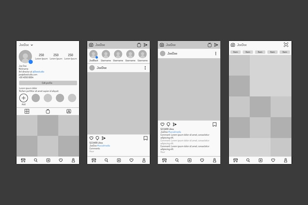 Modello di interfaccia storie instagram con toni di grigio