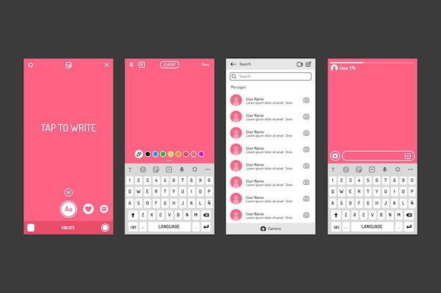 Modello di interfaccia storie instagram con toni rosa