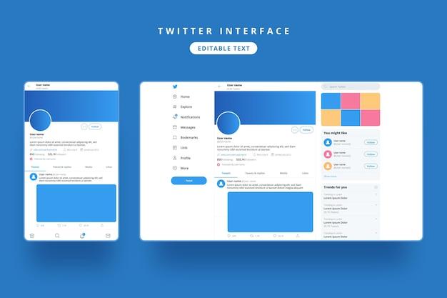 Modello di interfaccia twitter