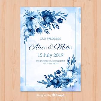 Modello di invito a nozze ad acquerello