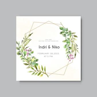 Modello di invito a nozze con eucalipto acquerello verde