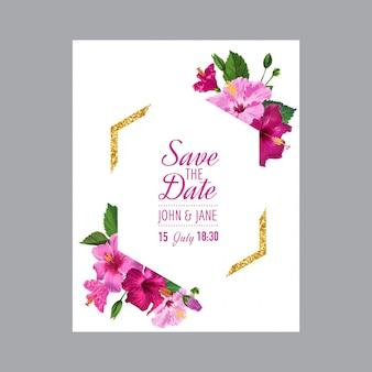 Modello di invito a nozze con fiori