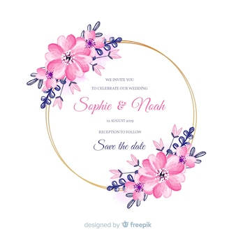 Modello di invito a nozze cornice floreale