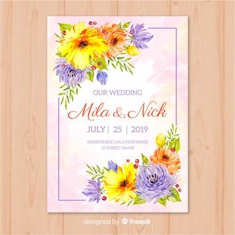 Modello di invito a nozze floreale