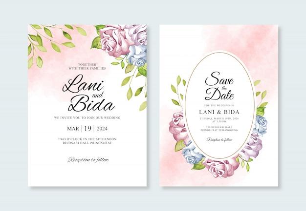 Modello di invito bel matrimonio con fiore ad acquerello