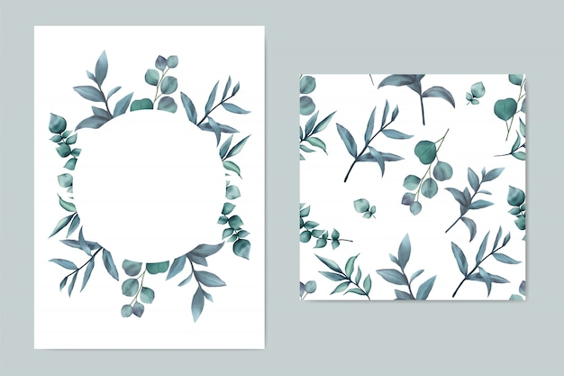 Modello di invito bel matrimonio con foglie blu