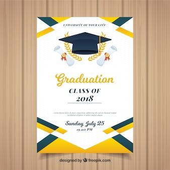 Modello di invito colorato graduazione con design piatto