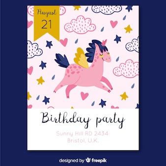 Modello di invito compleanno compleanno disegnato a mano di unicorno