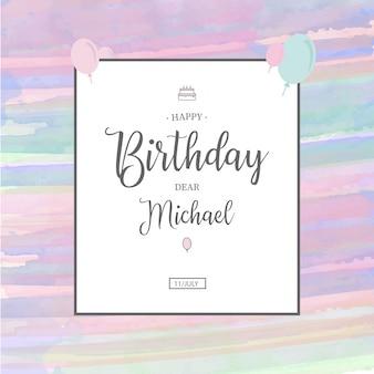 Modello di invito compleanno dell'acquerello