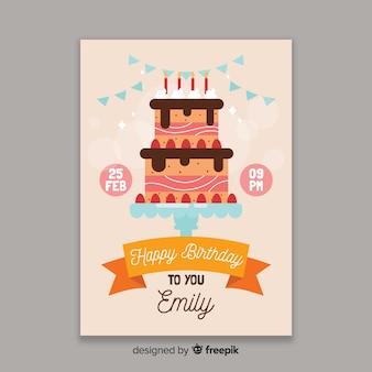 Modello di invito compleanno design piatto