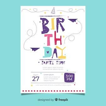 Modello di invito compleanno disegnati a mano