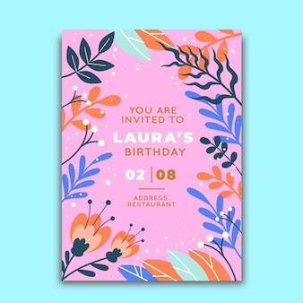 Modello di invito compleanno floreale