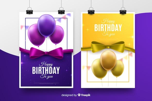 Modello di invito compleanno stile realistico