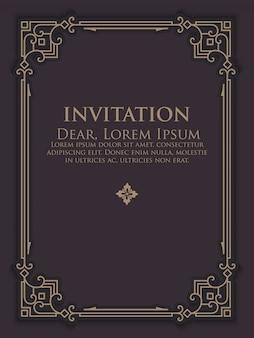 Modello di invito con cornice ornamentale vintage