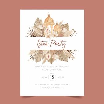 Modello di invito del partito di pampa iftar con lancia di palma essiccata, calla, orchidea e lanterna