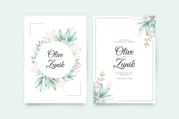Modello di invito di bel matrimonio con foglie acquerello e colore oro