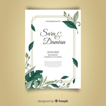 Modello di invito di bel matrimonio con foglie e cornice dorata