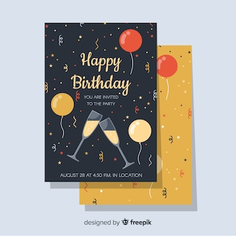 Modello di invito di buon compleanno in stile piano